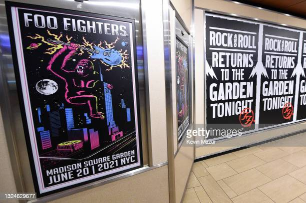 View of posters inside as The Foo Fighters reopen Madison Square Garden on June 20, 2021 in New York City. The concert, with all attendees...