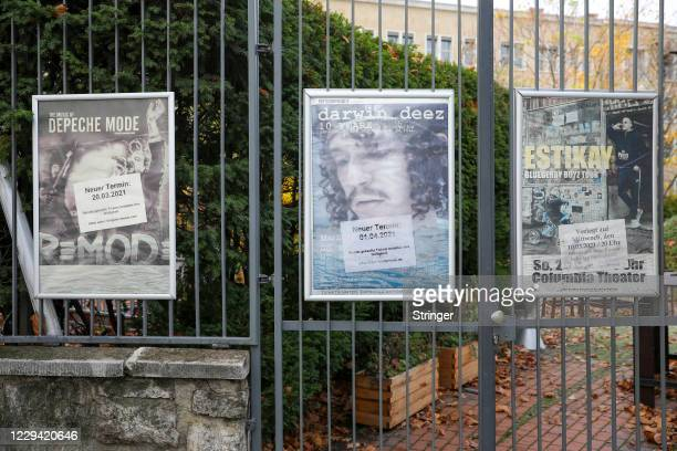 View of posters with information on postponed music events at Colombia Theater on the first day of a four-week semi-lockdown during the second wave...