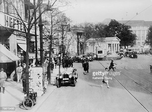 View of Potsdamer Platz looking east from Potsdamer Strasse to Leipziger Strasse Berlin Germany 1930 The fivesided structure on pillars in the center...