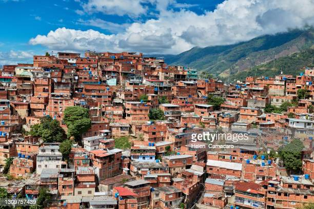 view of poverty zones in caracas, venezuela - venezuela stock pictures, royalty-free photos & images