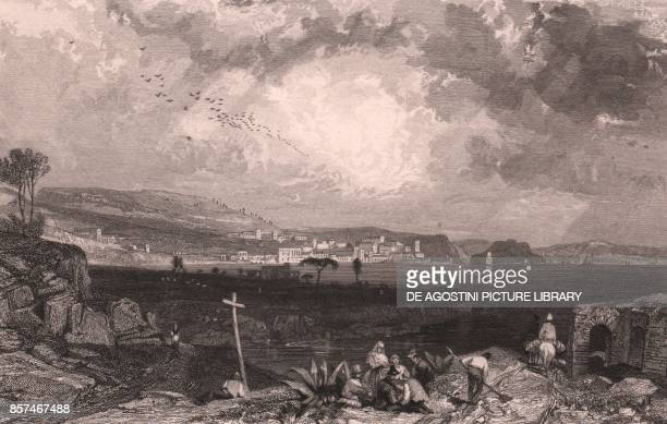 View of Pozzuoli Campania Italy steel engraving by W R Smith after a drawing by James Duffield Harding ca 7x10 cm published by R Jennings London