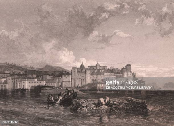 View of Pozzuoli from the sea with the Mole of Caligula Campania Italy steel engraving after a drawing by James Duffield Harding ca 143x10 cm...