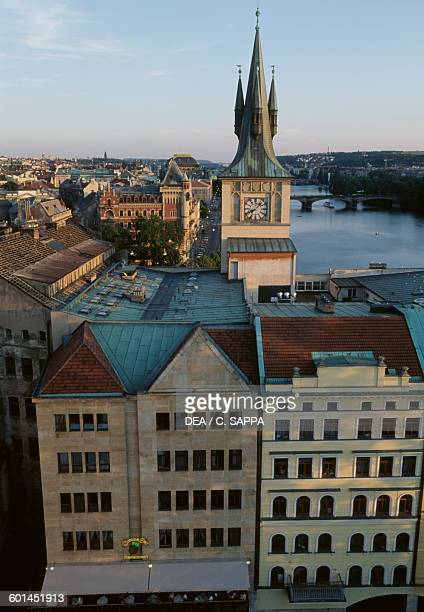 View of Prague and the Vltava with the old water tower in the centre Czech Republic