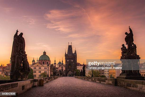 view of prague in the morning, prague, czech republic. - charles bridge stock pictures, royalty-free photos & images