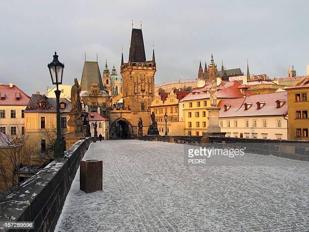 A view of Prague on a snowy day