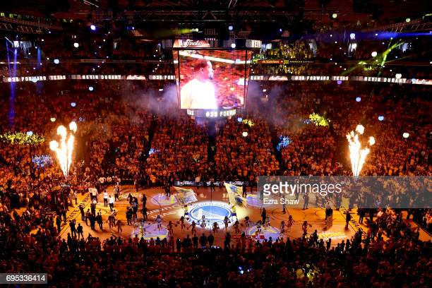 A view of pregame ceremonies prior to Game 5 of the 2017 NBA Finals between the Golden State Warriors and the Cleveland Cavaliers at ORACLE Arena on...