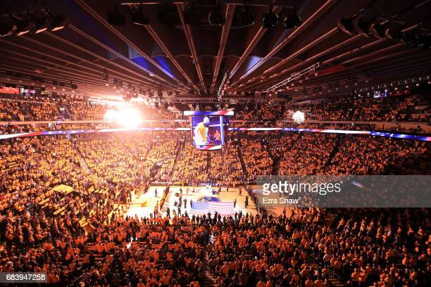 A view of pregame ceremonies prior to Game Two of the NBA Western Conference Finals between the Golden State Warriors and the San Antonio Spurs at...