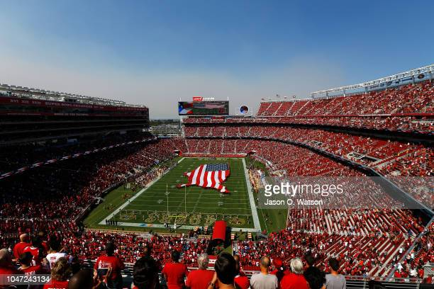 View of pregame ceremonies prior to the NFL game between the San Francisco 49ers and the Arizona Cardinals at Levi's Stadium on October 7, 2018 in...