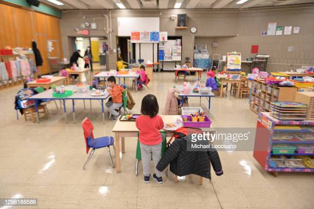 View of Pre-K students at Yung Wing School P.S. 124 on January 13, 2021 in New York City. New York City Public Schools continue to adapt learning...