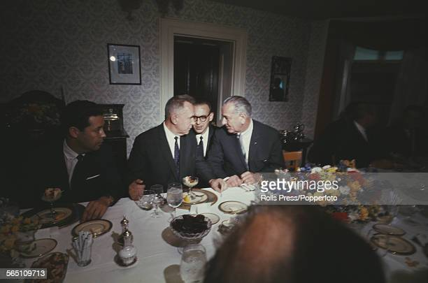 View of Premier of the Soviet Union Alexei Kosygin 2nd from left and President of the United States Lyndon B Johnson 4th from left pictured in...