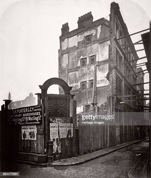 View of premises in Addle Street destroyed by fire City of London 1883