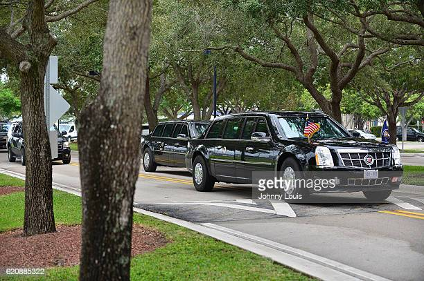 View of President Barack Obama presidential limo arriving at FIU campus to speaks during a campaign rally in support of Democratic presidential...