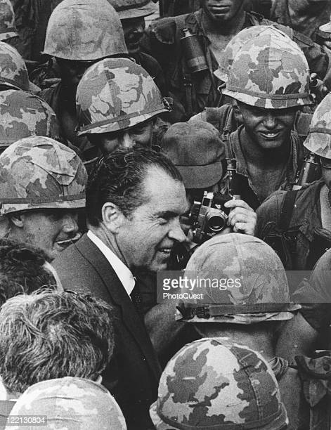 View of President Richard M Nixon as he paid a surprise visit to the American troops in Vietnam July 1969
