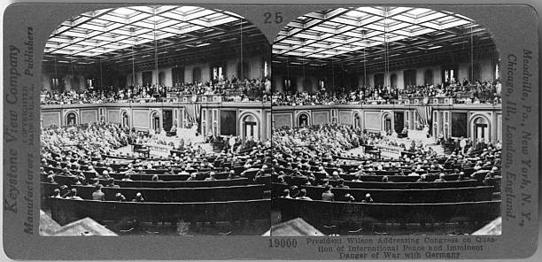 President Wilson Addressing Congress On International Peace