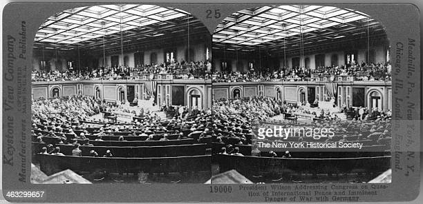 View of President Wilson addressing Congress on the question of international peace and the imminent danger of a war with Germany February 3 1917