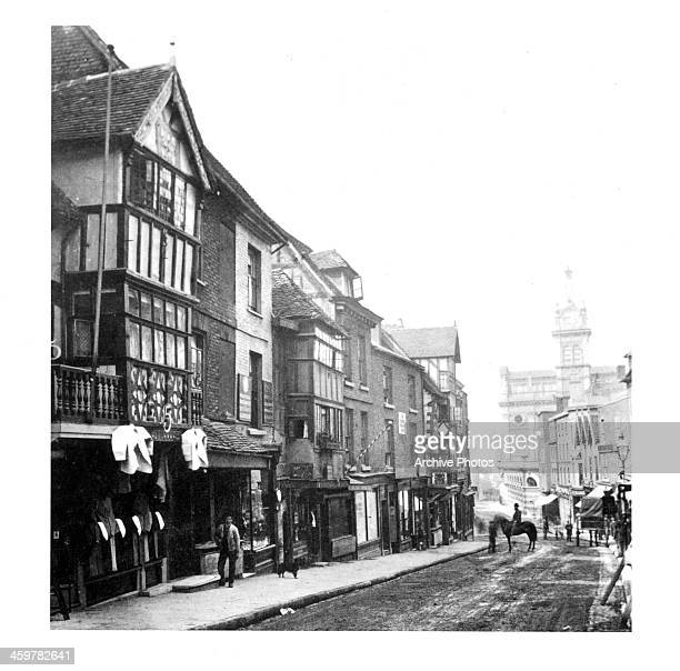 A view of Pride Hill and the New Market in Shrewsbury Shropshire England Circa 1900