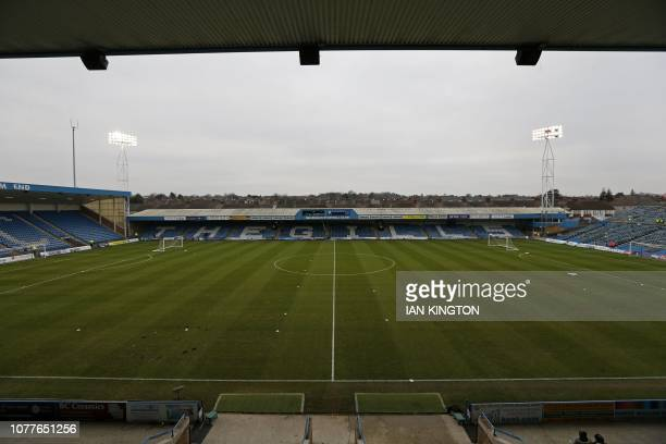 A view of Priestfield Stadium ahead of kick off in the English FA Cup third round football match between Gillingham and Cardiff City at Priestfield...