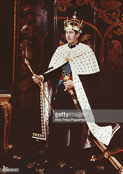 View of Prince Charles, Prince of Wales, dressed in his investiture regalia as he will be seen during the upcoming crowing ceremony at Caenarfon...