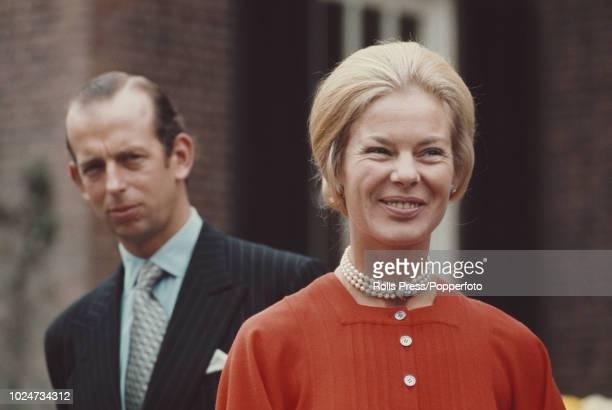 View of Prince Edward, Duke of Kent and Katharine, Duchess of Kent pictured together in the grounds of the British Embassy during a visit to...