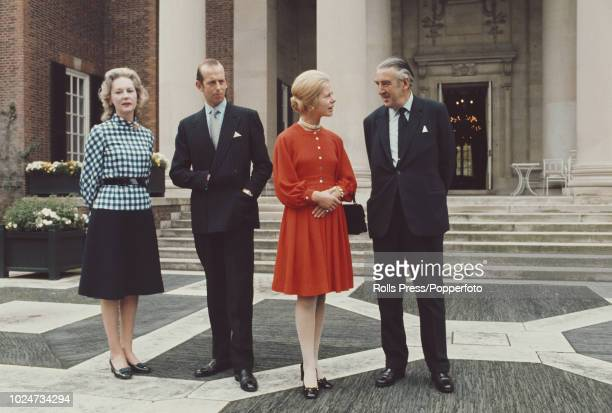 View of Prince Edward, Duke of Kent pictured 2nd from left with Katharine, Duchess of Kent as they meet with British Ambassador to the United States...