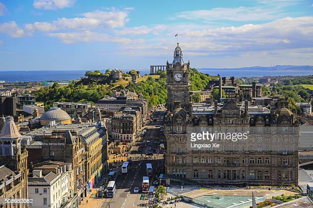 view of princes street from scott monument, edinburgh, scotland - balmoral hotel stock photos and pictures