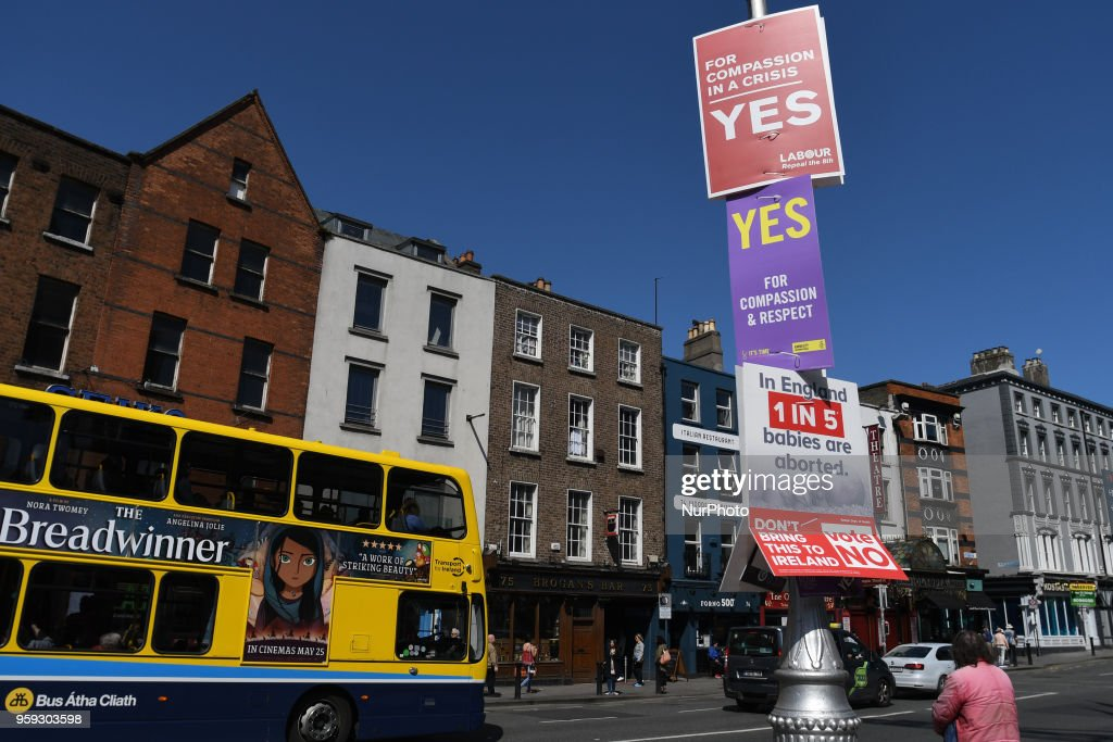 A view of Pro-Choice and Pro-Life posters on Dame Street, seen ahead of the referendum in relation to the eighth amendment of the Irish Constitution seen on May 16, 2018. Ireland will hold a referendum on May 25 on whether to alter its constitution to legalise abortion. On Wednesday, May 16, 2018, in Dublin, Ireland.