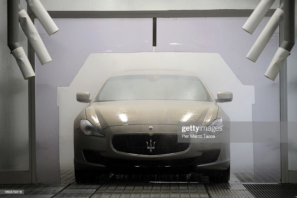 A view of production at the new Maserati plant during its unveiling in Grugliasco, which has been dedicated to Gianni Agnelli on January 30, 2013 in Turin, Italy. The new plant near the company's headquarters in Turin will produce Maserati's new model of luxury saloon cars, the Quattroporte.