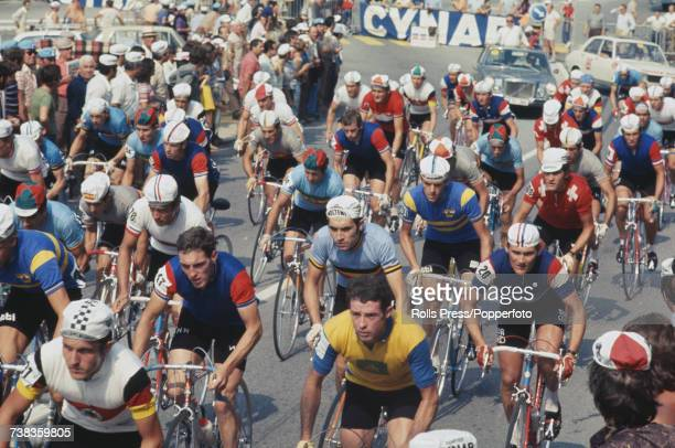 View of professional road race cyclists competing in the Men's road race at the 1971 UCI Road Race World Championships in Mendrisio Switzerland on...