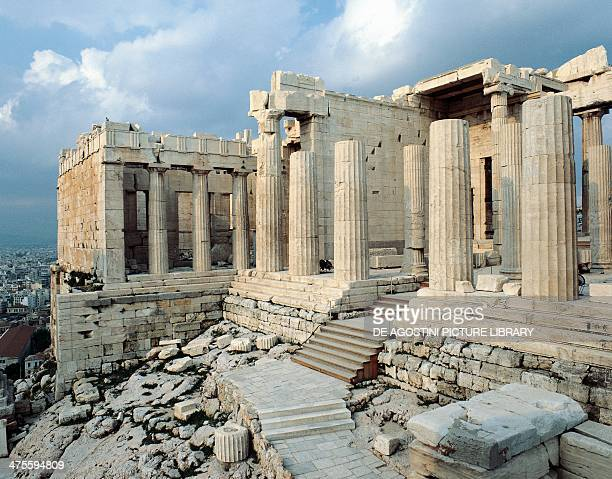 View of Propylaea or entrance gateway to the Acropolis of Athens Greece Greek civilisation 5th century BC