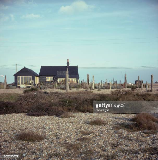 View of Prospect Cottage, home of British filmmaker, Derek Jarman on the beach at Dungeness, Kent, 1986. The house is noted for its unique garden,...
