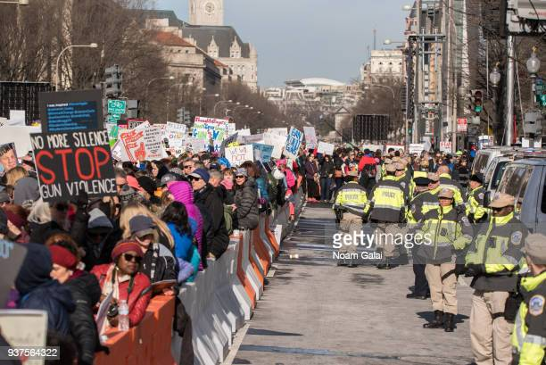 A view of protesters and police officers during March For Our Lives on March 24 2018 in Washington DC