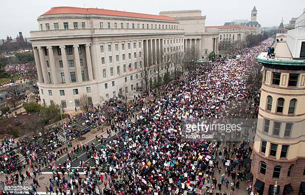 A view of protesters marching on Pennsylvania Avenue during the Women's March on Washington on January 21 2017 in Washington DC