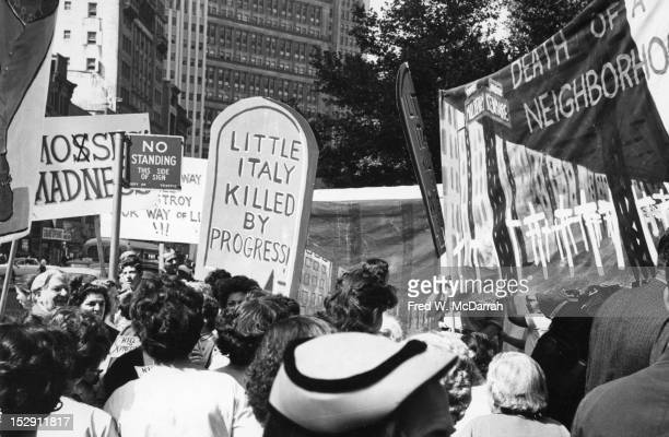 View of protestors at a demonstration against the proposed 'Lower Manhattan Expressway' New York New York August 23 1962 Also known as the 'Broome...