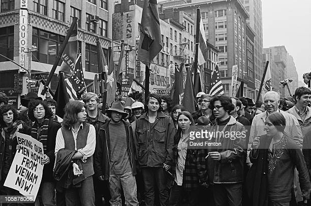 View of protestors at an antiwar rally in Central Park New York New York April 5 1969