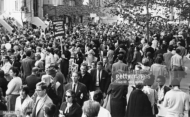 View of protestors during an antiViet Nam War demonstration on Fifth Avenue New York New York October 17 1965