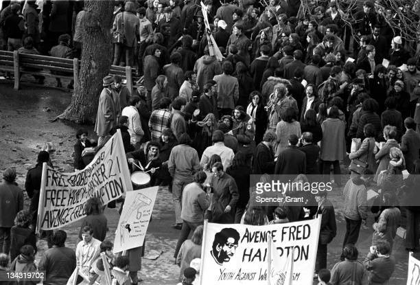 View of protestors gathered for an 'Avenge Fred Hampton' rally held at Boston Common 1970