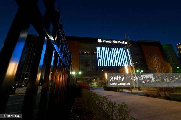 View of Prudential Center illuminated in blue on April 16, 2020 in Newark, New Jersey, United States. Landmarks and buildings across the nation are...