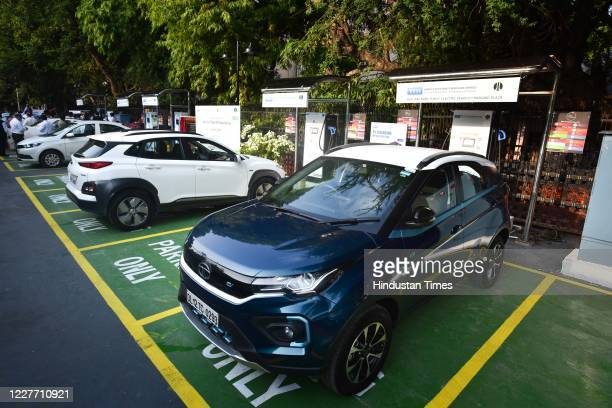 View of public EV charging plaza during its inauguration at Chemsford Club parking, Rafi Marg on July 20, 2020 in New Delhi, India.