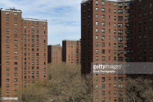 view of public housing projects in the lower east side of manhattan, new york city, usa - housing difficulties stock pictures, royalty-free photos & images