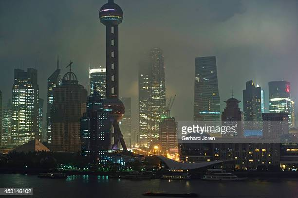 A view of Pudong in Shanghai during the Solar Eclipse of the sun