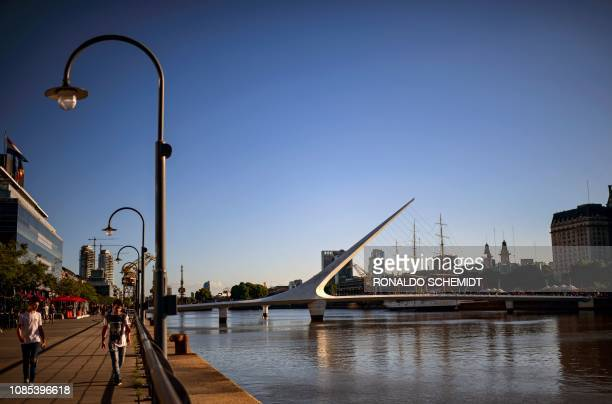 A view of Puerto Madero in Buenos Aires Argentina on January 19 2019