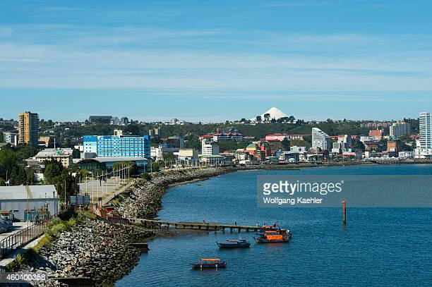 View of Puerto Montt in southern Chile with Osorno Volcano in background