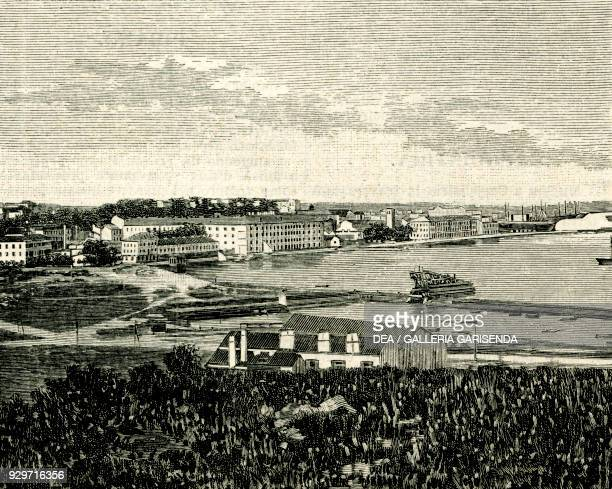 View of Pula from the north, Istria, Croatia, woodcut from Le cento citta d'Italia , illustrated monthly Supplement of Il Secolo, Milan, February 25...
