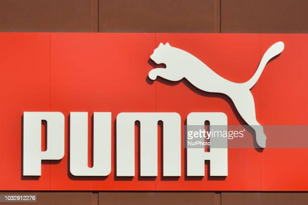A view of PUMA logo in South Edmonton Common a retail power centre located in Edmonton Alberta On Tuesday September 11 in Edmonton Alberta Canada