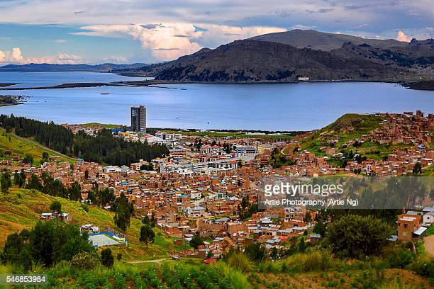View of Puno and Lake Titicaca, Puno, Peru, South America