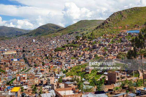 View of Puno City and Surround Mountains, Puno, Peru, South America