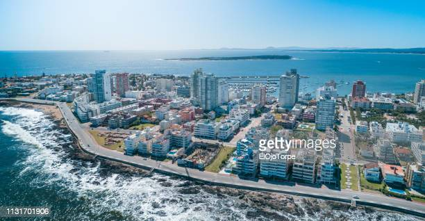 view of punta del este city, beach, ocean, skyline, gorriti island, aerial view, drone point of view, uruguay - maldonado uruguay stock pictures, royalty-free photos & images