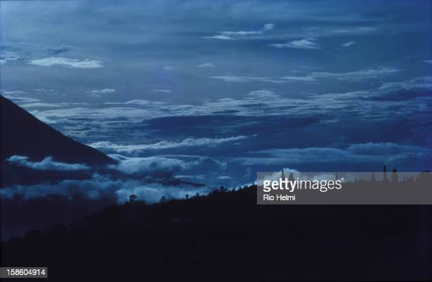 View of Pura Batur temple in Kintamani in the mountains of Bali Top the left are the flanks of Mt Abang