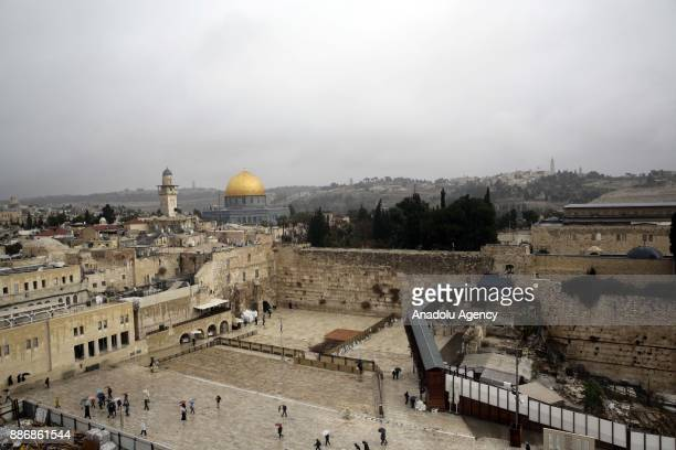A view of Qubbat alSakhrah at Al Aqsa Mosque Compound is seen in Jerusalem on December 06 2017 Sacred to Muslims Jews and Christians Jerusalem city...