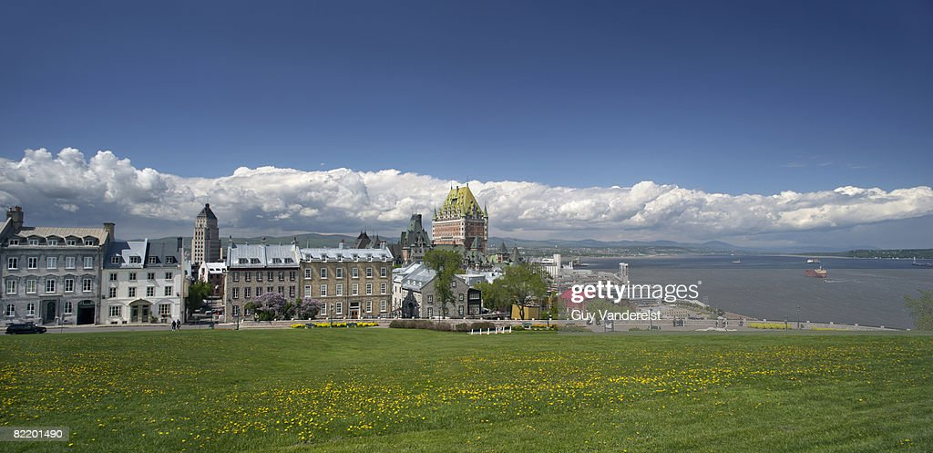 View of Quebec City and St. Lawrence river : Stock Photo